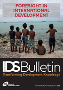 This is the cover to IDS Bulletin 47.4, 'Foresight in International Development'.