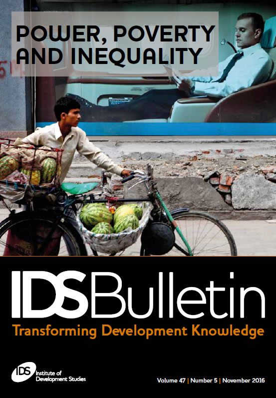 This is the cover to IDS Bulletin 47.5, 'Power, Poverty and Inequality'.