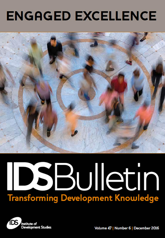 This is the cover to IDS Bulletin 47.6, 'Engaged Excellence'.