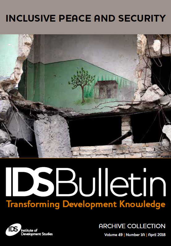 This is the cover of IDS Bulletin 491A 'Inclusive Peace and Security'.
