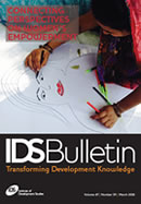 This is the cover to IDS Bulletin archive issue 1A, 'Connecting Perspectives on Women's Empowerment'.